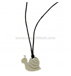 SNAIL IN STEEL PENDANT WITH POINT Bilamina BRASS AND GOLD WITH LACE SILK CERATA