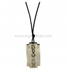 Pendant BLADE MM 34X20 STEEL WITH LACE SILK CERATA