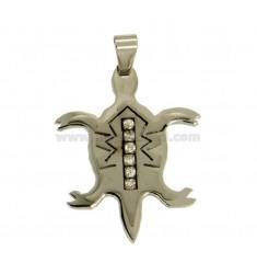 Encanto del acero TORTUGA MM 35X28 CON ZIRCONIA BLANCA