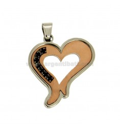 HEART PENDANT MM 32X28 IN TWO-TONE ROSE GOLD PLATED STEEL WITH RUBBER INSERTS AND BLACK ZIRCONIA
