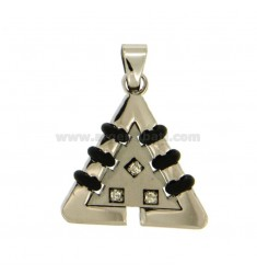 Pendant TRIANGLE MM 26X24 STEEL INSERTS RUBBER &39AND WHITE ZIRCONIA