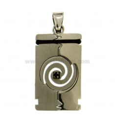 RECTANGULAR PENDANT MM 34X18 IN SATIN AND POLISHED STEEL WITH INSERTS IN RUBBER AND BLACK ZIRCONR