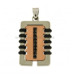 PENDANT RECTANGULAR MM 34X21 STEEL TWO TONE ROSE GOLD PLATED INSERTS RUBBER &39BLACKS AND ZIRCONIA