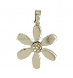 CHARM FLOWER 30X27 MM STEEL WITH CRYSTAL WHITE
