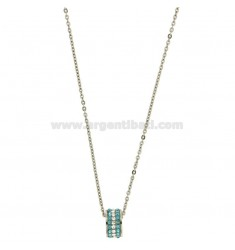 Pendant BOLT IN STEEL WITH ZIRCONIA CELESTIAL AND WHITE AND CHAIN CABLE 50 CM