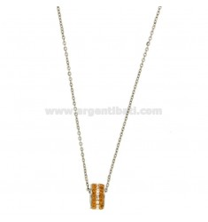 Pendant BOLT IN STEEL WITH ZIRCONIA CHAMPAGNE AND WHITE AND CHAIN CABLE 50 CM