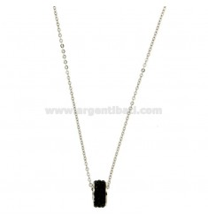 Pendant BOLT IN STEEL WITH ZIRCONIA BLACKS AND CHAIN CABLE 50 CM