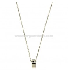 BOLT IN STEEL PENDANT WITH ZIRCON BLACK AND CHAIN CABLE 50 CM