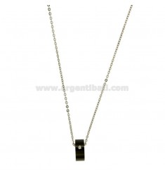 Pendant BOLT PLATED STEEL WITH ZIRCON RUTHENIUM BLACK AND CHAIN CABLE 50 CM