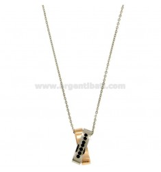 PENDANT STEEL TWO TONE ROSE GOLD PLATED 20x10 MM WITH ZIRCONIA BLACKS AND CHAIN CABLE 50 CM
