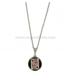 Pendant PAPER GAME K PAINTINGS AND STEEL POLISH CABLE WITH CHAIN 50 CM