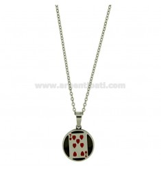 Pendant PAPER GAME 7 OF HEARTS IN STEEL AND NAIL WITH CHAIN CABLE 50 CM