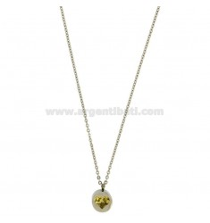 PENDANT LIGHT POINT WITH ZIRCON YELLOW HEART SHAPED AND CHAIN CABLE 50 CM