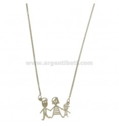 CHARM FAMILY WITH CHILD IN STEEL AND CHAIN 50 CM VENETIAN