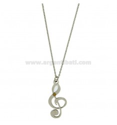 PENDANT KEY OF VIOLIN MM 30X14 STEEL WITH POINT Bilamina BRASS AND GOLD CHAIN CABLE 50 CM