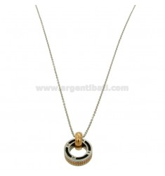 CHARM ROUND 16 MM STEEL TWO TONE ROSE GOLD PLATED POLISH BLACK AND ZIRCONIA WITH CHAIN CABLE 50 CM