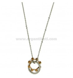PENDANT RINGS ROUND STEEL TWO TONE PLATED ROSE GOLD STONES AND CHAIN CABLE 50 CM