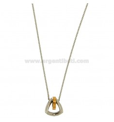 Pendant TRIANGULAR STEEL WITH BOLT PLATED ROSE GOLD CHAIN AND CABLE 50 CM
