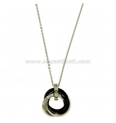 CHARM 3 RIMS TWISTED TWO TONE PLATED RUTENIO BOLT WITH ZIRCONIA WHITE AND CABLE CHAIN 50 CM