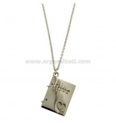 CHARM IN THE SHAPE OF BOOK 26X21 MM STEEL WITH WORDS LOVE AND HEART ENGRAVED CHAIN CABLE 50 CM