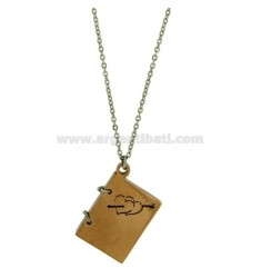 CHARM IN THE SHAPE OF BOOK 26X21 MM STEEL TWO TONE GOLD PLATED ENGRAVED ROSE AND HEARTS CHAIN CABLE 50 CM