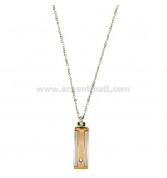 Pendant 25x8 MM STEEL PLATE WITH ROSE GOLD PLATED INSERTS AND CHAIN CABLE 50 CM