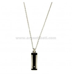 Pendant 25x8 MM STEEL PLATE INSERTS RUTENIO PLATED CABLE AND CHAIN 50 CM