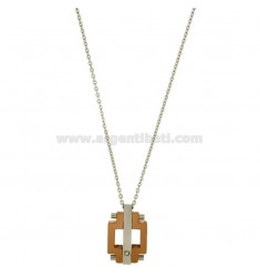 PENDANT STEEL TWO TONE PLATED ZIRCON ROSE GOLD CHAIN AND CABLE CM50