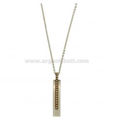 PENDANT STEEL TWO TONE PLATED ROSE GOLD ZIRCONIA WHITE AND CABLE CHAIN 50 CM