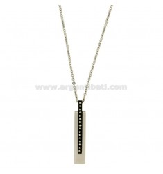 PENDANT IN STEEL WITH TWO TONE PLATED RUTENIO ZIRCONIA WHITE AND CABLE CHAIN 50 CM