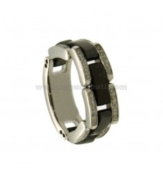 STAINLESS STEEL RIBBED RING WITH BLACK CERAMIC AND ZIRCONI MEASURE 14