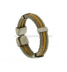 3 anillo de alambre de acero cuerda de Oro Dos Tonos plateado Tamaño ajustable