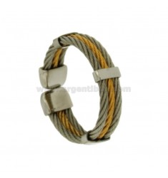 3 RING WIRE ROPE STEEL TWO TONE GOLD PLATED SIZE ADJUSTABLE