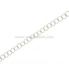 CHAIN METRO runde Innendurchmesser mm 5.5 mm Draht Rändel 0.90 Silber rhodiniert TIT 925 ‰ CM 50