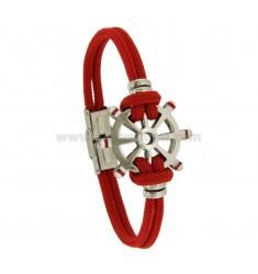 BRACELET WITH RUDDER CENTRAL STEEL GLAZED AND RED ROPE