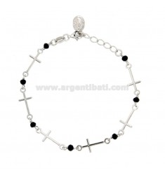 BRACELET WITH CROSSES, MIRACULOUS MADONNA AND BLACK STONES IN SILVER RHODIUM TIT 925