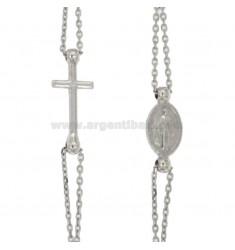 Collar del rosario de gira con PIEDRAS AMARANTO TIT 925: 50 CM