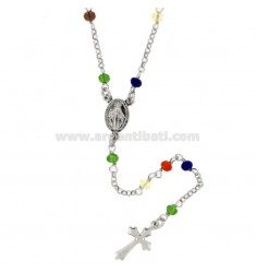ROSARY NECKLACE WITH STONES MULTICOLOR SILVER TIT 925 CM 50