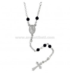 ROSARY NECKLACE WITH ONYX STONES 3 MM SILVER TIT 925 CM 50