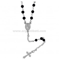 ROSARY NECKLACE WITH ONYX STONES 3 MM SILVER TIT 925 CM 60