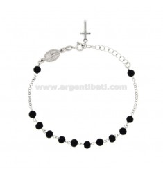 ROSARY BRACELET WITH STONES OF ONYX 5 MM SILVER TIT 925 CM 17.19