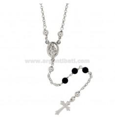 Collar del rosario con piedras de ONYX 5 MM PLATA TIT CM 50 925