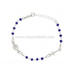 ROSARY BRACELET WITH STONES SILVER BLUE TIT 925 CM 17.19