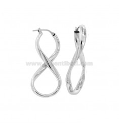 EARRINGS A CIRCUS TYPE INFINITO 43X15 MM A CRUSHED ROD IN SILVER RHODIUM TIT 925 ‰