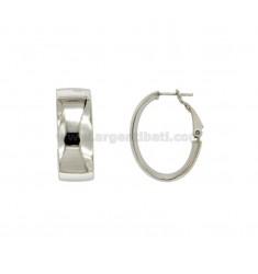 Pendientes óvalo 32x20 MM Una caña molida 10 mm en plata satinado Y TOMA DE ORO 925 ‰