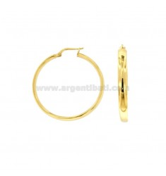 EARRINGS A CIRCLE 34 MM A CRUSHED BARREL 4X2 MM SILVER GOLDEN TIT 925 ‰