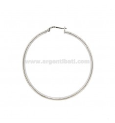 EARRINGS A CIRCLE 45 MM A CANE CRUSHED MM 4X2 SILVER RHODIUM TIT 925 ‰