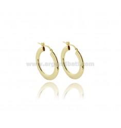 HOOP EARRINGS MM 18 CRUSHED BARREL MM 2X4 IN SILVER GOLDEN TIT 925 ‰