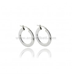 HOOP EARRINGS MM 22 WITH CRUSHED BARREL MM 2X4 IN SILVER PLATINOTIT 925 ‰