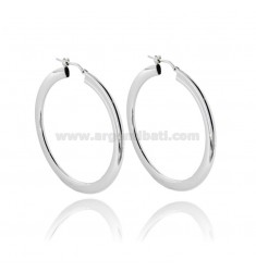 HOOP EARRINGS 37 MM CRUSHED BARREL 2X4 MM IN SILVER PLATINATED TIT 925 ‰
